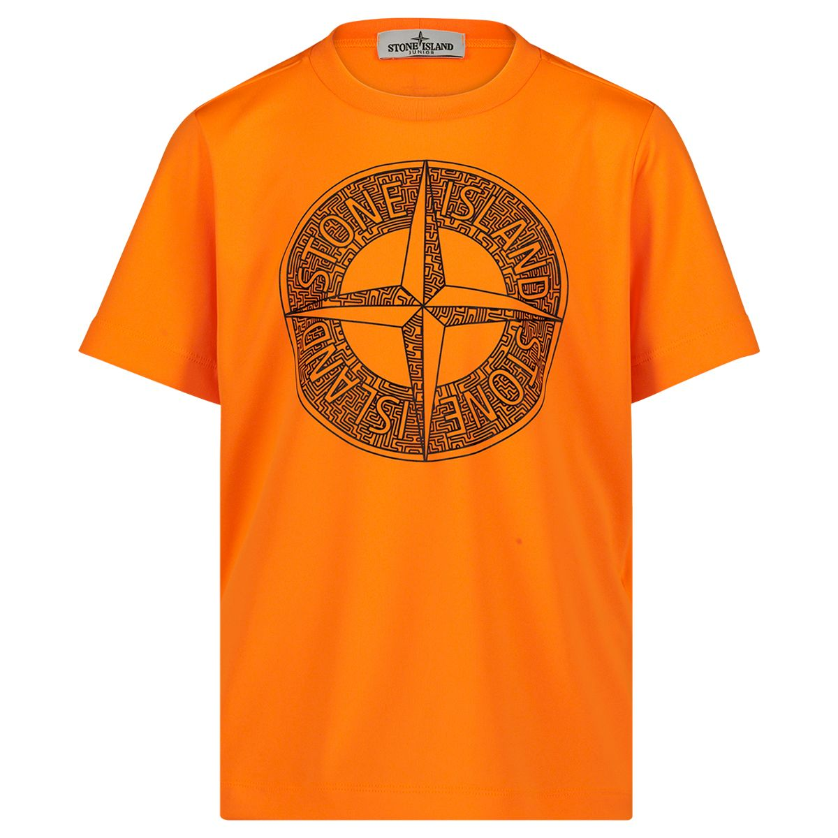 ORANJE STONE ISLAND Ronde hals sweater met embleem, oranje