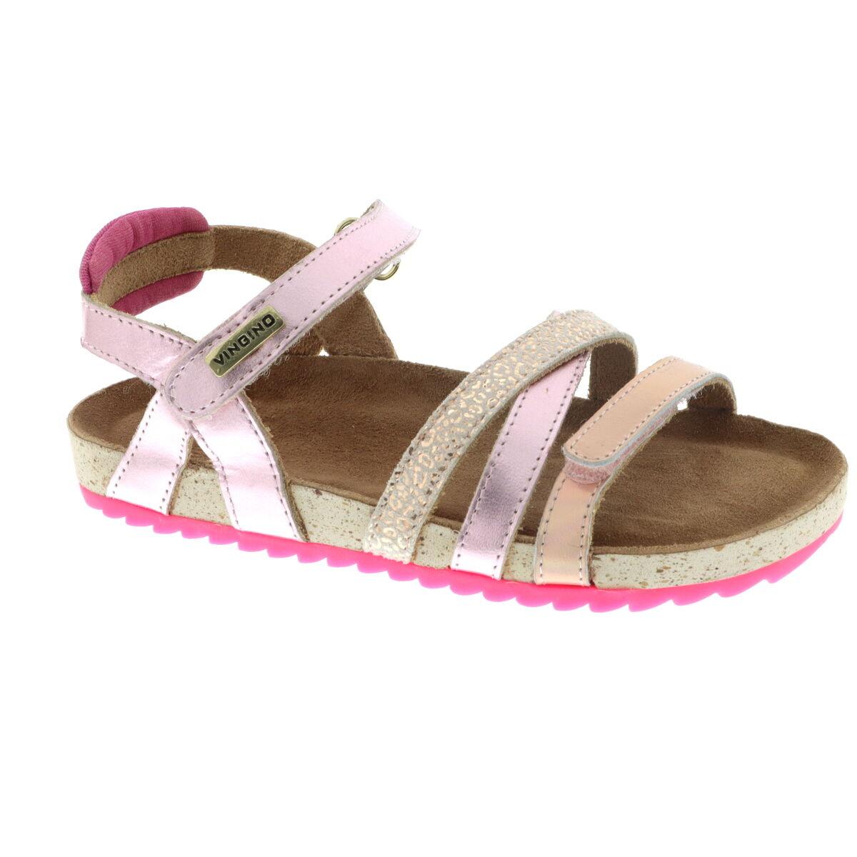 Vingino Vienna leren sandalen met panterprint roze/roségoud online kopen