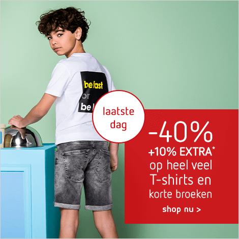 2 dagendeal: -40% + 10% EXTRA* op heel veel T-shirts en korte broeken - laatste dag