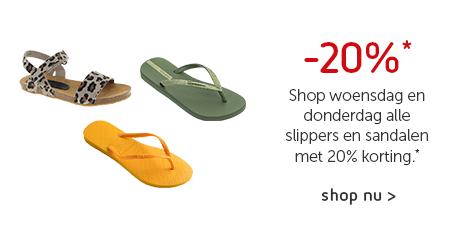 2 dagen deal -20% op ALLE*slippers en sandalen