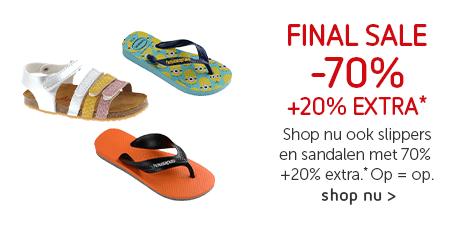 Final Sale: -70% + 20% extra op alle slippers en sandalen*