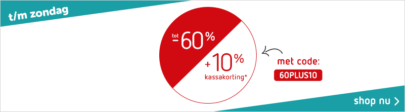 Sale tot 60% + 10% kassakorting (20-07)