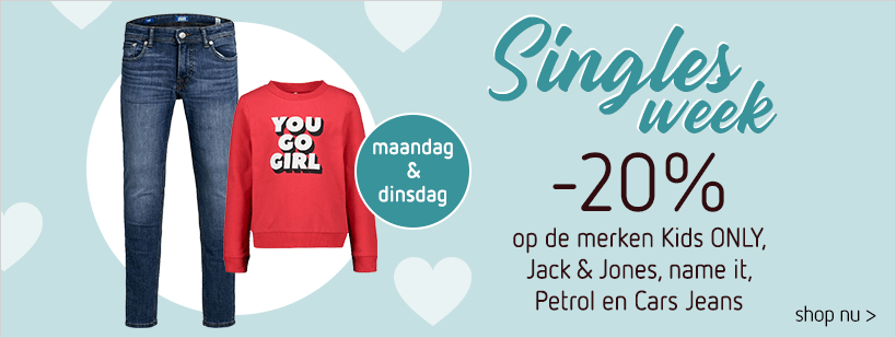 Singles Week -20% op Petrol, Cars Jeans, Kids ONLY, Jack&Jones en name it