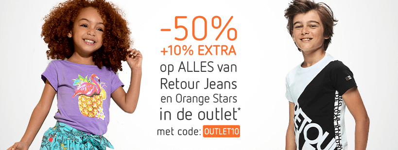 13-05 - outlet - -50% +10% extra op Retour Jeans en Orange Stars